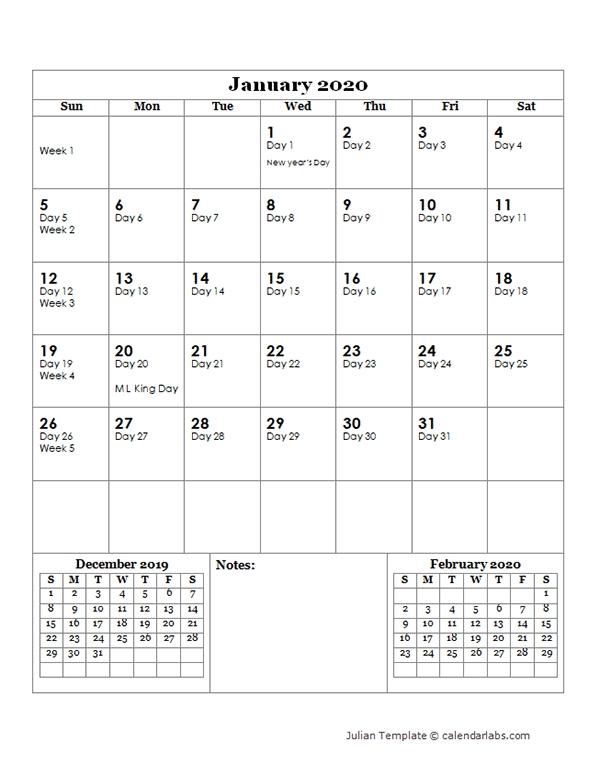 2020 Julian Day Calendar - Free Printable Templates regarding Free 10 Day Calendar Graphics