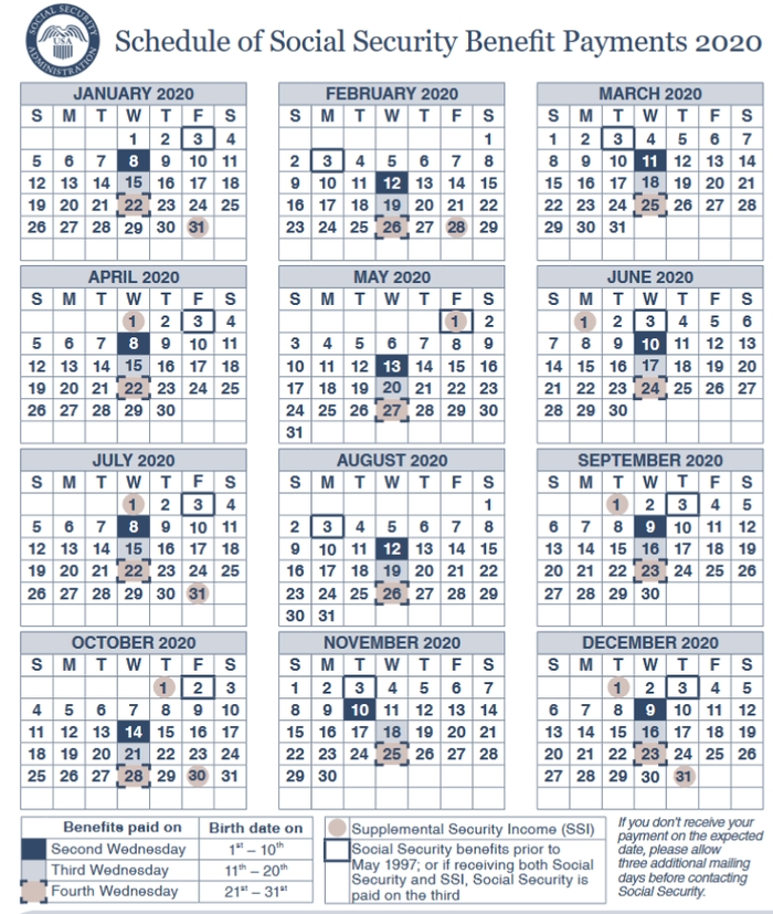 2020 Social Security Payments Schedule: When Will You Get for Social Security Disability Payment Calendar Image