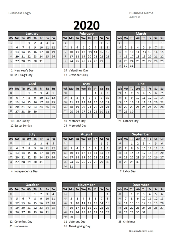2020 Yearly Business Calendar With Week Number - Free pertaining to Printable Calendar With Days Numbered Photo