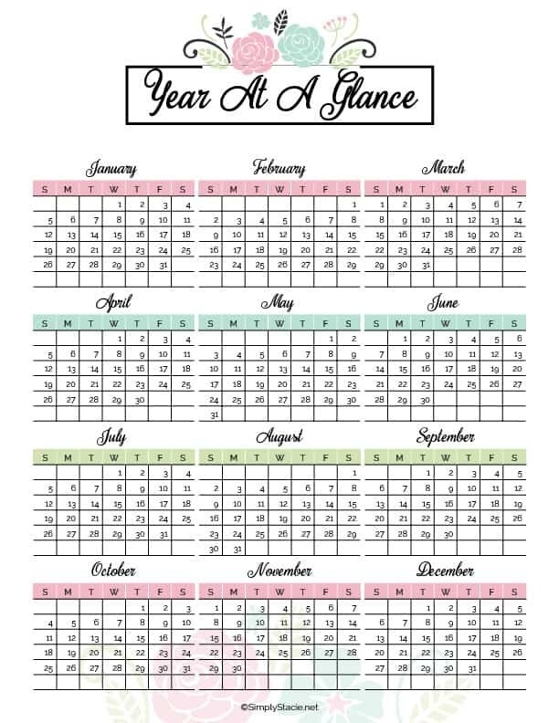 2020 Yearly Calendar Free Printable - Simply Stacie with regard to 2020 Calendar Free Printable