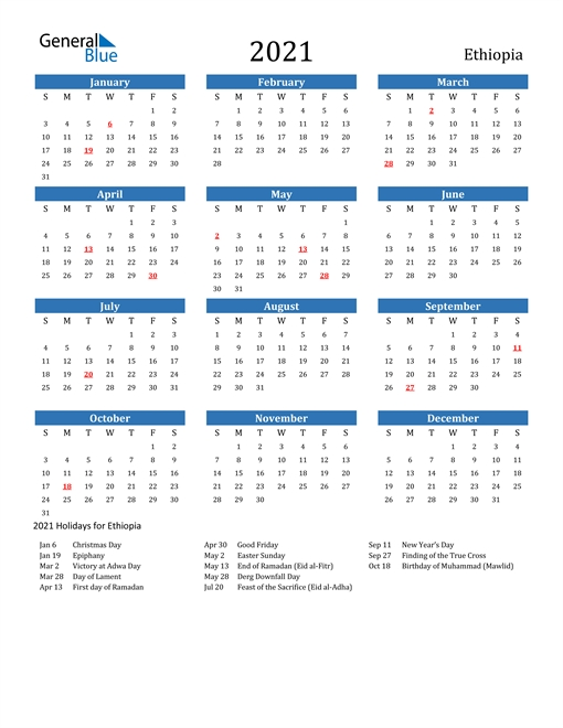 2021 Calendar - Ethiopia With Holidays throughout Ethiopian Calender Photo