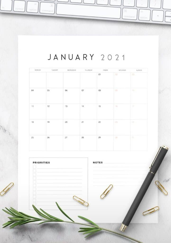 2021 Calendar With Priorities And Notes - World Of Printables regarding The No-Frills Free Calendar