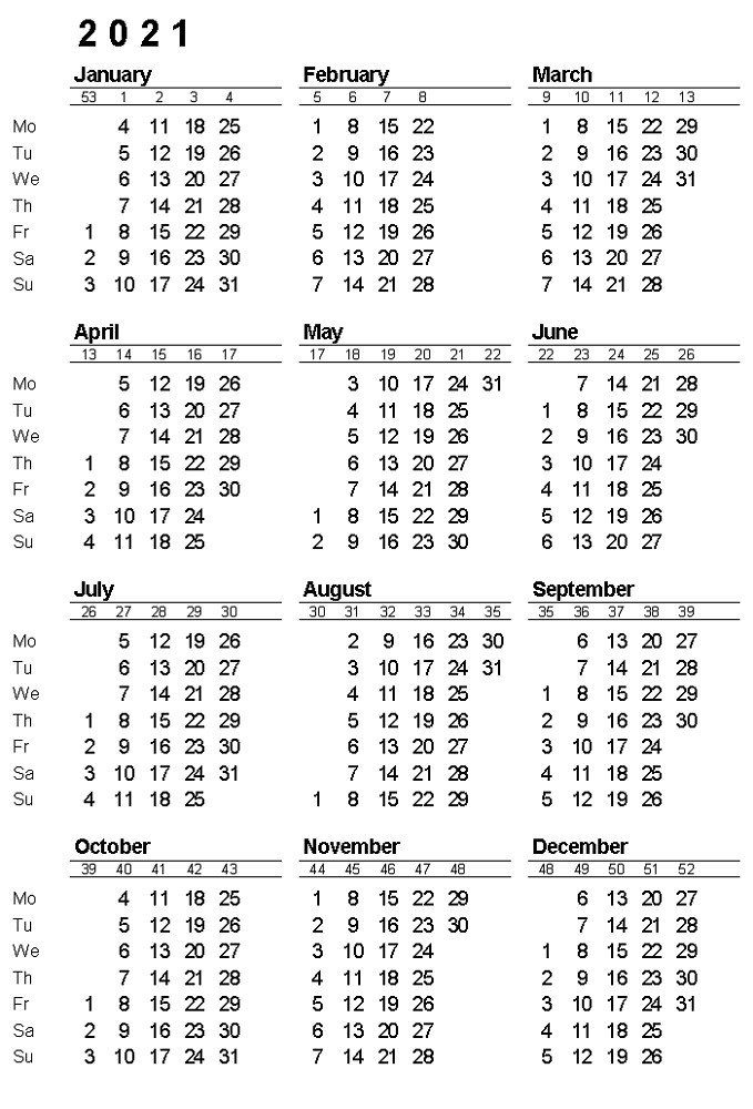 2021 Calendar With Week Numbers Free 365 Days | Free with Calendar That Numbers To 365 Photo