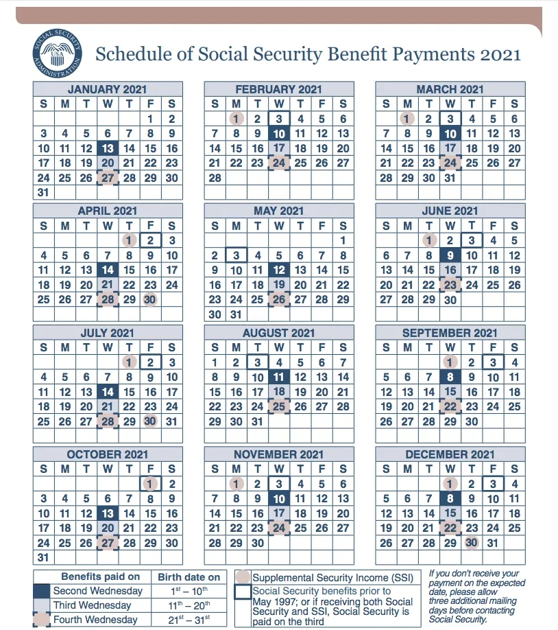 2021 Social Security Payment Calendar - Social Security pertaining to Disability Benefits Payment Schedule