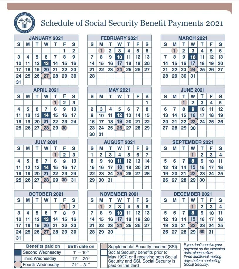 2021 Social Security Payment Calendar - Social Security throughout Social Security Disability Payment Calendar