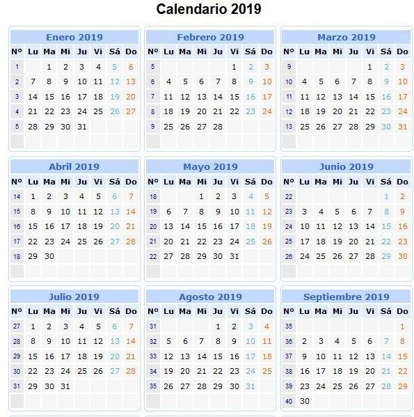 28 Calendarios 2019 Imprimibles Para Descargar | Calendario for Numero De Semanas En El Calendario