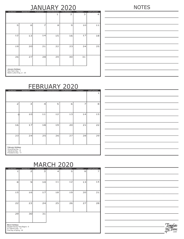 3 Month Calendar - 2020 regarding Three Month Calendar For Word