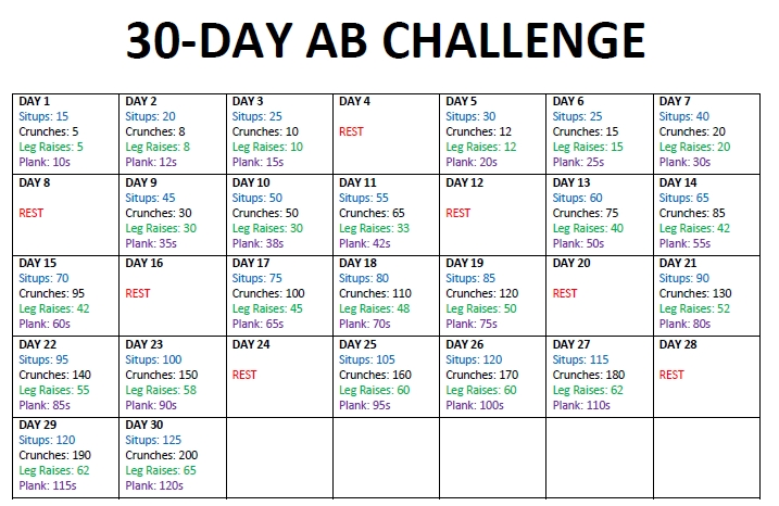 30 Day Ab Challenge Printable Calendar | 30-Day throughout 30 Day Ab And Squat Printable Calendar