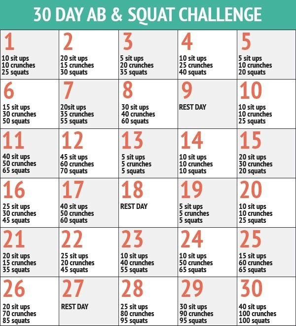 30 Day Ab & Squat Challenge | Squat And Ab Challenge, 30 Day with regard to 30 Day Ab And Squat Printable Calendar