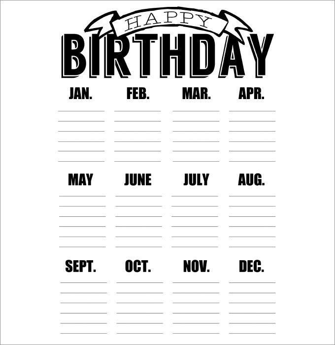 46+ Birthday Calendar Templates - Psd, Pdf, Excel   Free inside Free Birthday Calendar Printable Word Photo