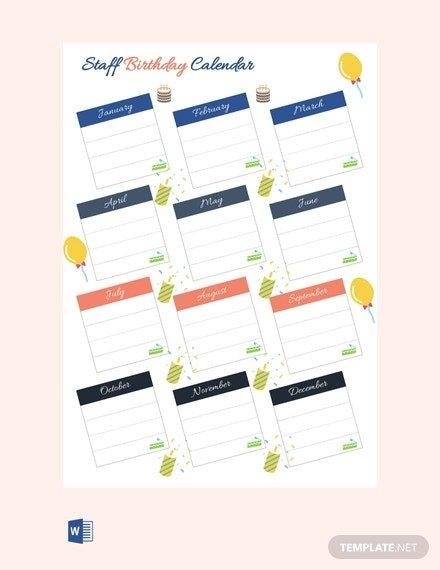 46+ Birthday Calendar Templates - Psd, Pdf, Excel   Free inside Free Birthday Calendar Printable Word