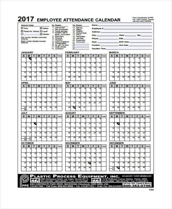 7+ Attendance Calendar Templates - Free Word, Pdf Format in Printable Calendar For Employees Time Photo