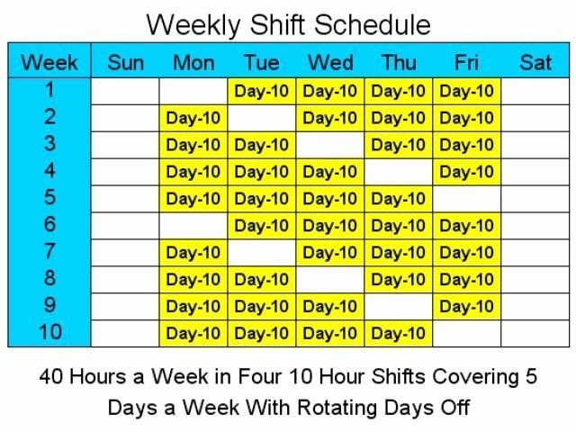 8 Hour Shift Schedule Template Luxury 8 Hour Rotating Shift with regard to Template For 10 Days Photo