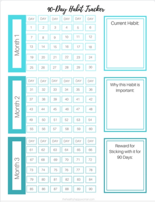 90-Day Habit Tracker - The Healthy Happy Woman   Healthy throughout 90 Day Claendar Image