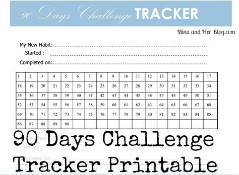 90 Days Goals Challenge With Printable | Mina And Her Blog inside 90 Day Blank Calendar Template Image