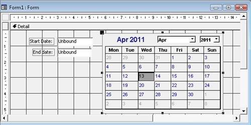 Activex Calendar Control for Calendar In Msaccess Template Graphics