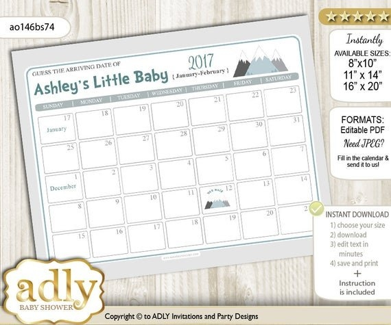 Adventure Mountain Guess Due Date Calendar For Baby Shower, Predictions  Printable, Baby Arrival Date, Gray White, Boy - Ao146Bs74 throughout Printable Guess Baby Date