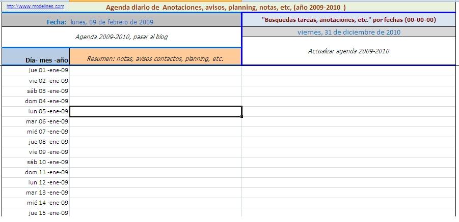 Agenda (En Hoja De Exel) regarding Bajar Agenda Para Excel