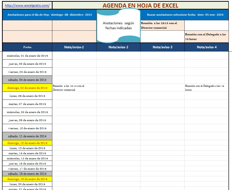 Agenda, Planning En Hoja De Excel Todos Los Años | Excel Gratis inside Bajar Agenda Para Excel