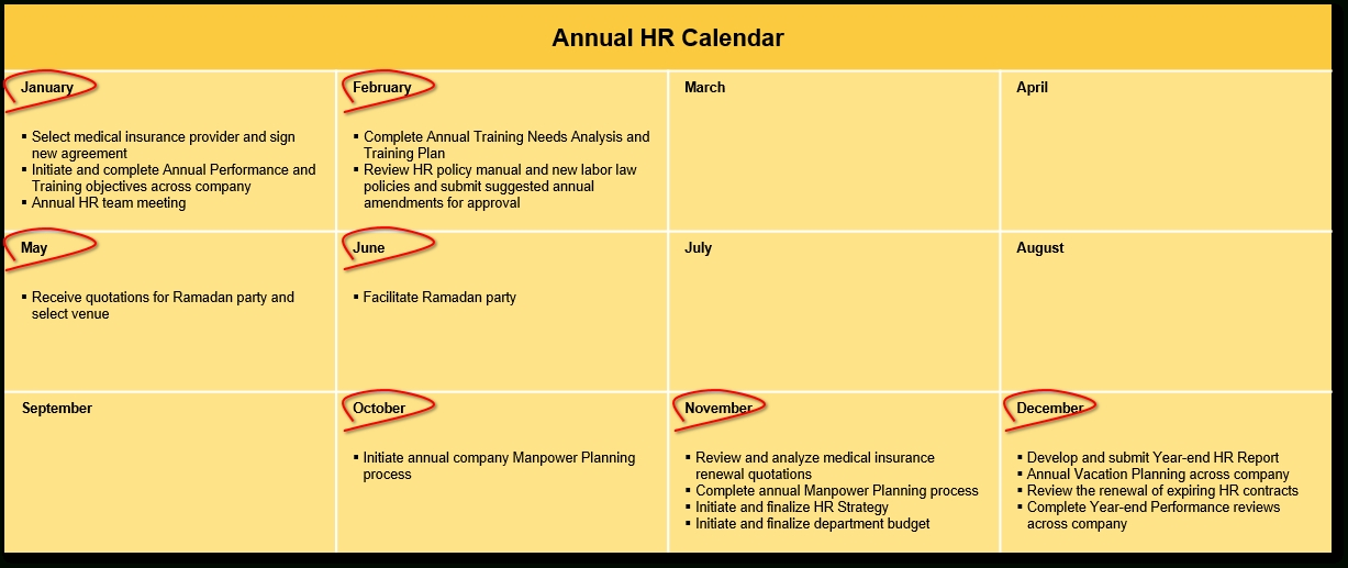 An Hr Calendar … Why Not? | Handover Consulting in Hr Calendar Sample