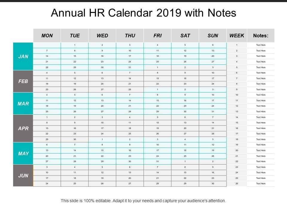 Annual Hr Calendar 2019 With Notes | Ppt Images Gallery for Human Resource Monthly Template