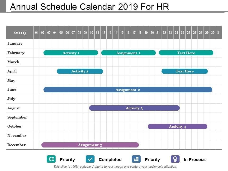 Annual Schedule Calendar 2019 For Hr | Presentation in Hr Calendar Sample