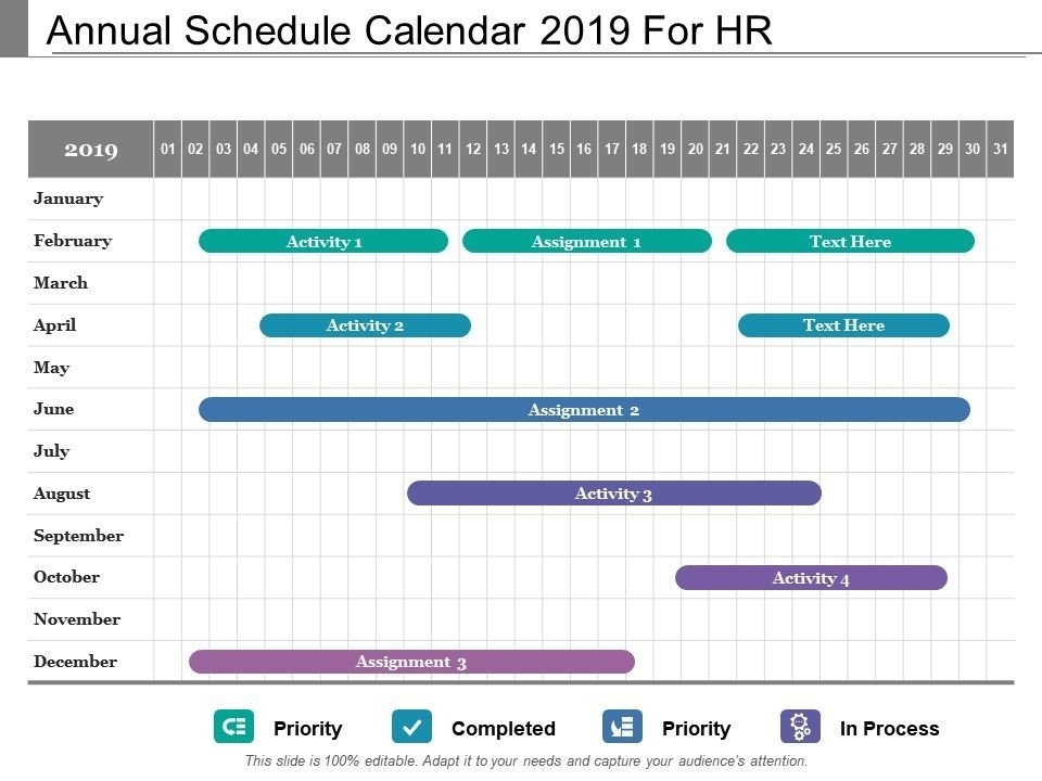 Annual Schedule Calendar 2019 For Hr | Presentation throughout Human Resource Monthly Template