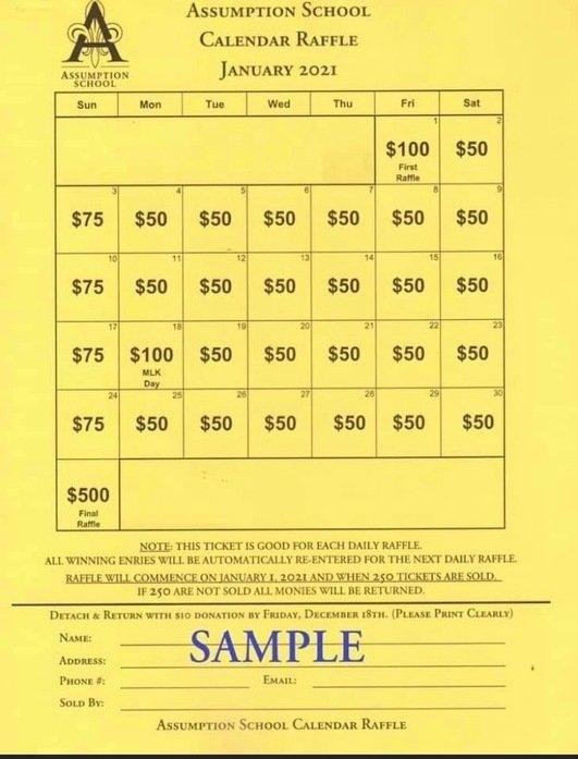 Assumption Elementary | Calendar Raffle | Millbury, Ma pertaining to Sample Monthly Calendar Lottery Ticket Fundraiser Image