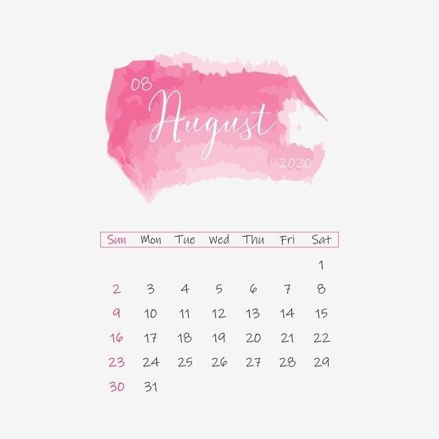 August 2020 Calendar Clipart Png Vector Element, Calendar within August Calendar Printable With Border