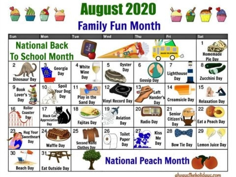August National Day Calendar - Free Printable Of National Days inside Print A 90 Day Calandar