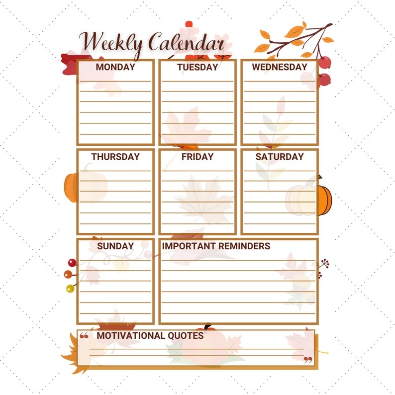 Autumn Fall Weekly Calendar, Planner Printable, Portrait A4 pertaining to Monday To Friday Calendar To Print Out Fall