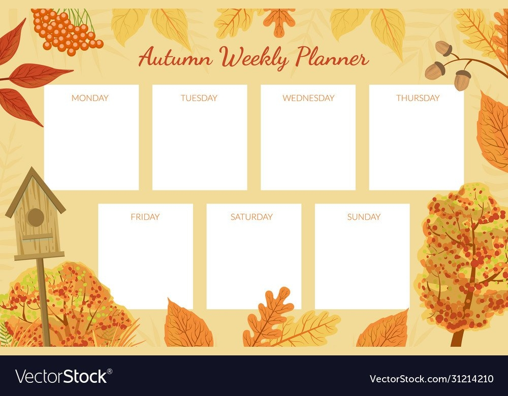 Autumn Weekly Planner Template Week Calendar Vector Image with Monday To Friday Calendar To Print Out Fall Image