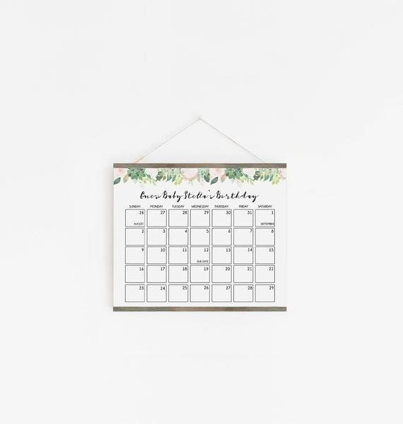 Baby Due Date Calendar Game, Guess Baby Birthday Calendar inside Baby Prediction Calendar Template