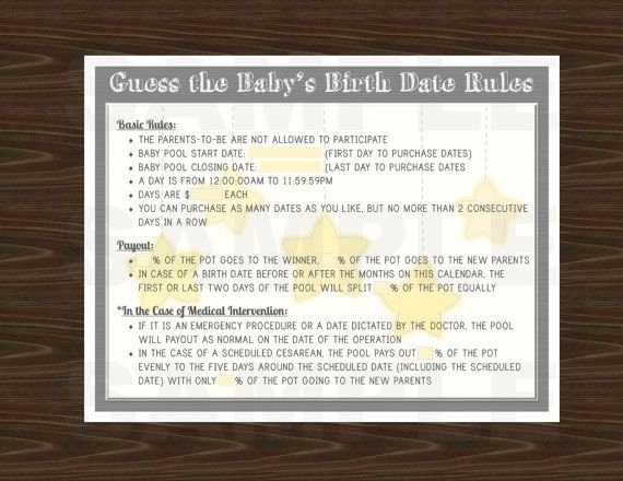 Baby Due Date Poster, Birthday Betting Pool, 24X36 In in Rules Of Guessing Baby Due Date Graphics