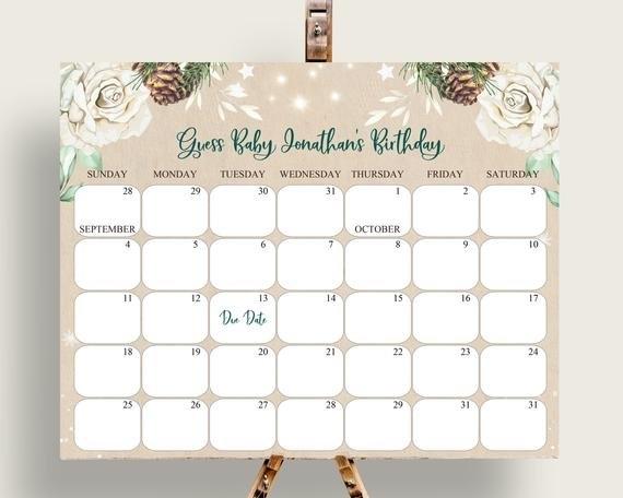 Beige Green Baby Due Date Calendar Editable, Guess Baby for Baby Girl Due Date Calendar E Printable Photo