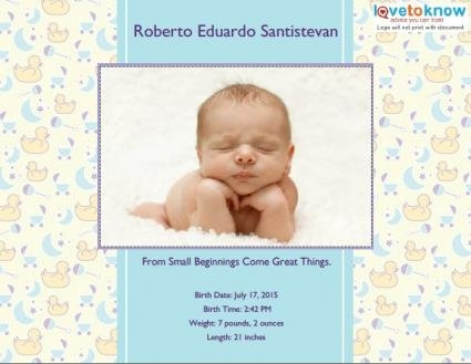 Birth Announcement Templates And Ideas | Lovetoknow throughout Guess The Birth Date Template