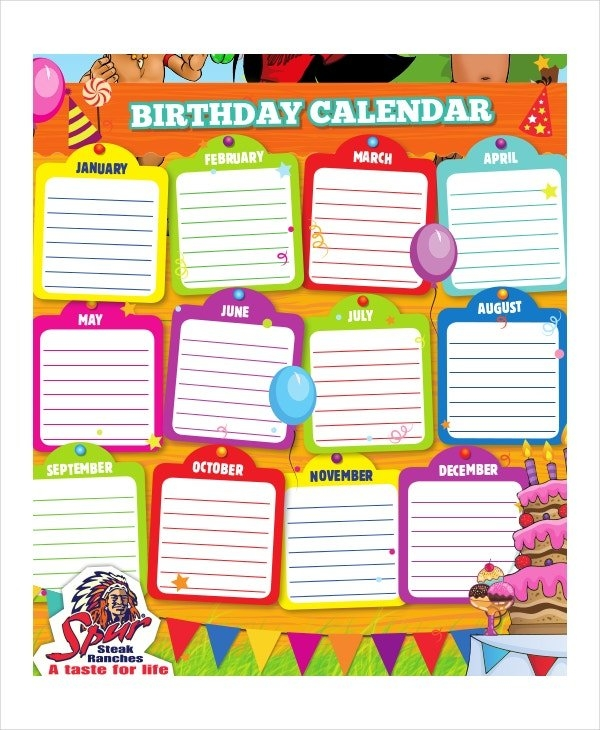 Birthday Calendar - 14+ Free Word, Pdf, Psd Documents regarding Free Birthday Calendar Printable Word