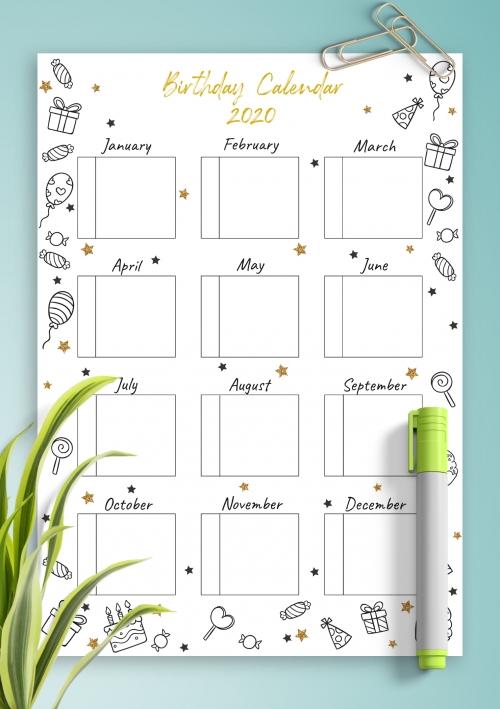 Birthday Calendar - Download Printable Birthday Calendar intended for Free Birthday Calendar Printable Word Photo