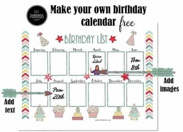 Birthday Calendar Template intended for Free Birthday Calendar Printable Word