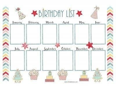 Birthday Calendar Template throughout Free Birthday Calendar Printable Word