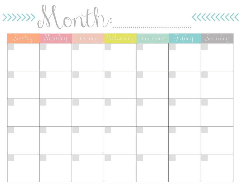 Blank Calander Template Awesome Printable Blank Monthly for Printable Monthly Planner With Lines Photo