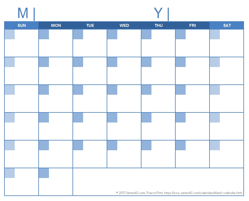 Blank Calendar Template - Free Printable Blank Calendars in Print A 90 Day Calandar