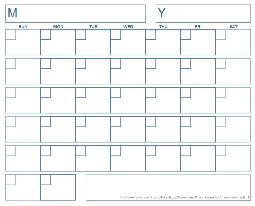 Blank Calendar Template - Free Printable Blank Calendars inside Free Printable 11X17 Calendar Template