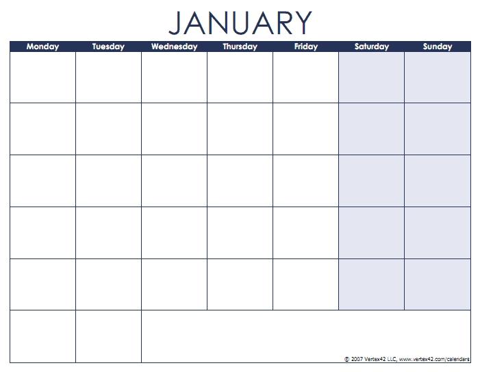 Blank Calendar Template - Free Printable Blank Calendars intended for Printable Monday Thru Sunday Calendar