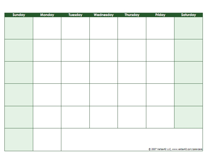 Blank Calendar Template - Free Printable Blank Calendars pertaining to Calendar Without Weekends