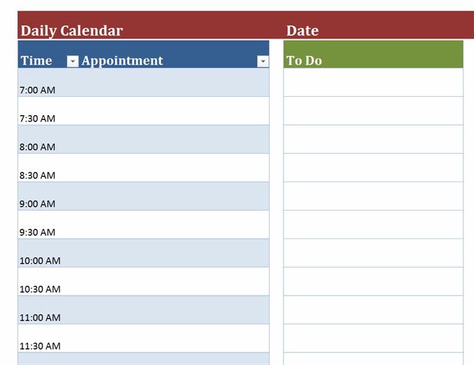 Blank Daily Calendar with Single Day Calendar Blank Template