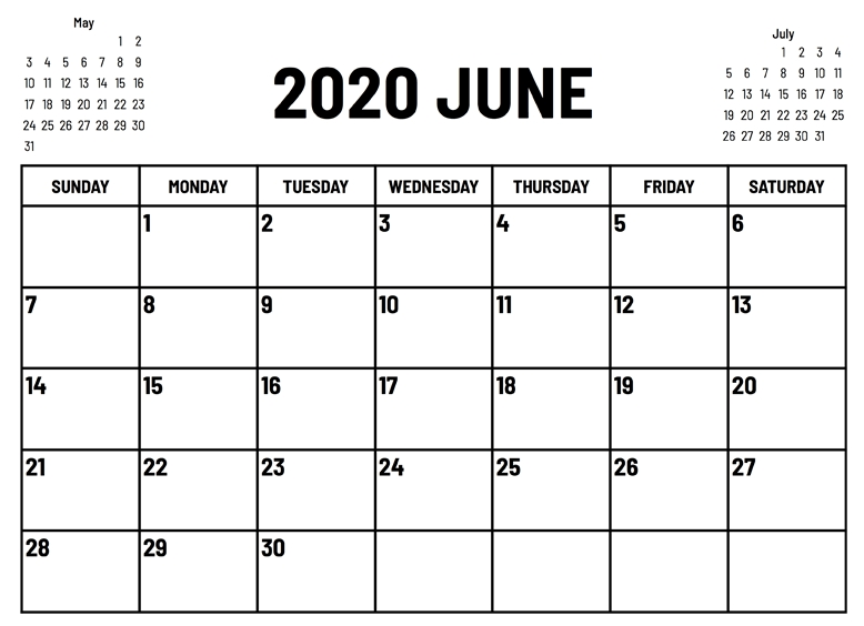 Blank June 2020 Calendar For Word, Excel And Pdf | Free with June 2020 Calendar With Time Slots Photo