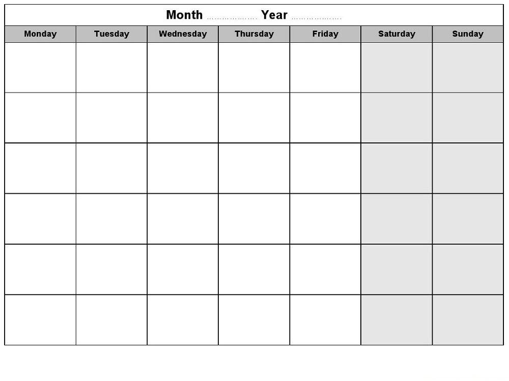 Blank Weekly Calendars Printable | Weekly Calendar Template regarding Printable Calendars Monday Thru Sunday