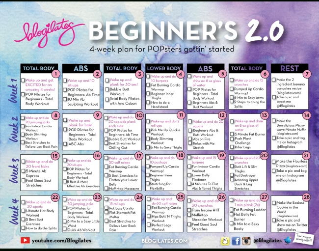 Blogilates Beginners Calendar 2.0 Review – Relokate for Blogilates Calendar Graphics