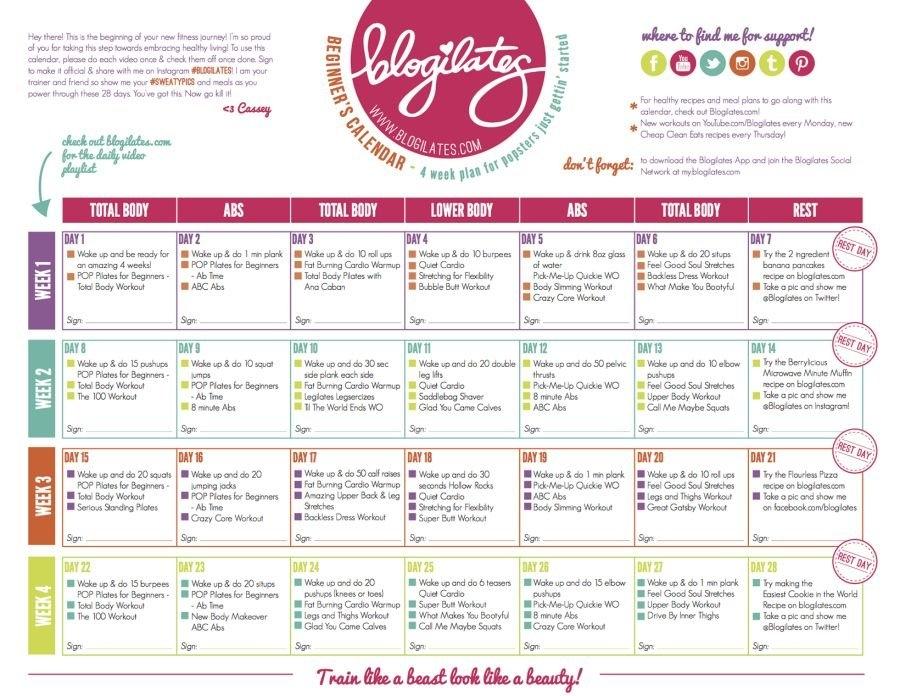 Blogilates Calendar Redesign | Kebugaran, Kesehatan with regard to Blogilates Calendar